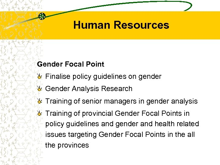 Human Resources Gender Focal Point Finalise policy guidelines on gender Gender Analysis Research Training