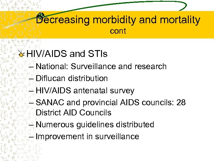 Decreasing morbidity and mortality cont HIV/AIDS and STIs – National: Surveillance and research –