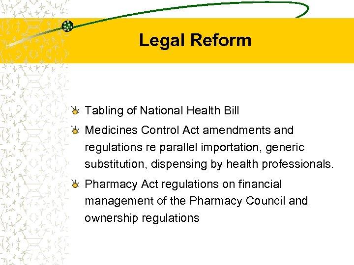 Legal Reform Tabling of National Health Bill Medicines Control Act amendments and regulations re