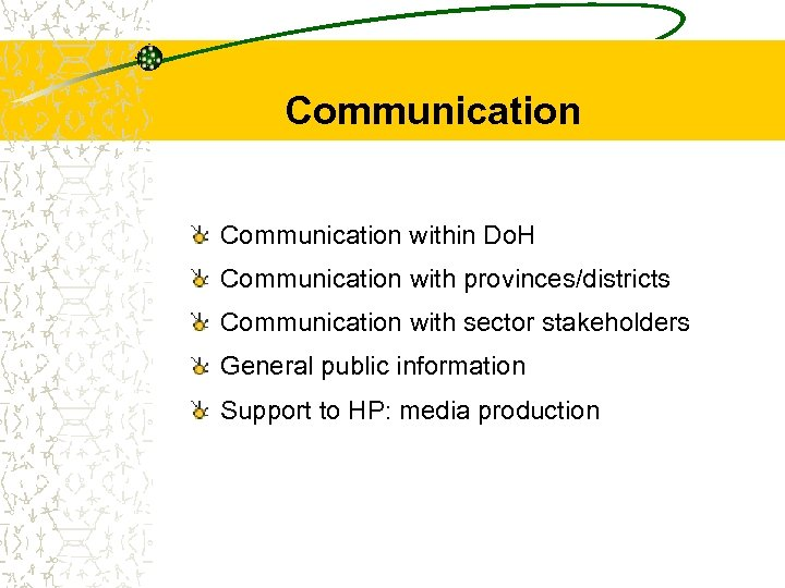 Communication within Do. H Communication with provinces/districts Communication with sector stakeholders General public information