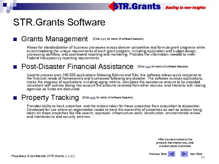 Scaling to new heights STR. Grants Software n Grants Management (Click here for demo