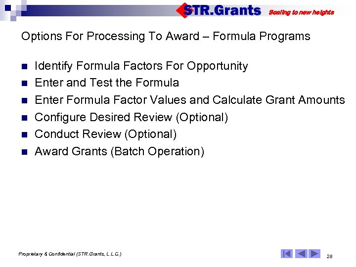 Scaling to new heights Options For Processing To Award – Formula Programs n n
