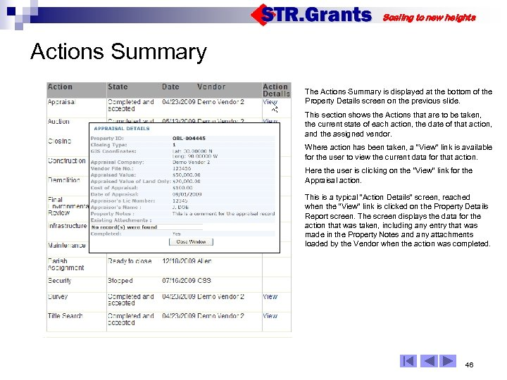 Scaling to new heights Actions Summary The Actions Summary is displayed at the bottom