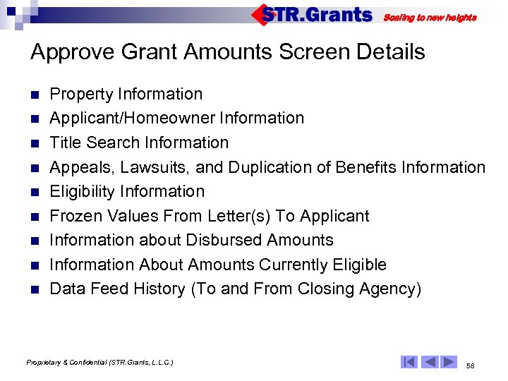 Scaling to new heights Approve Grant Amounts Screen Details n n n n n