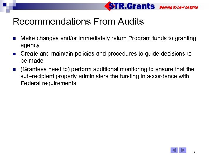 Scaling to new heights Recommendations From Audits n n n Make changes and/or immediately