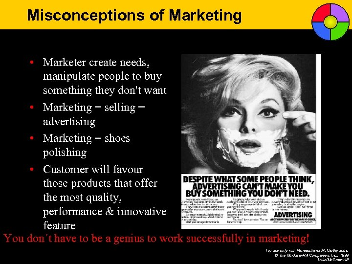 Misconceptions of Marketing • Marketer create needs, manipulate people to buy something they don't