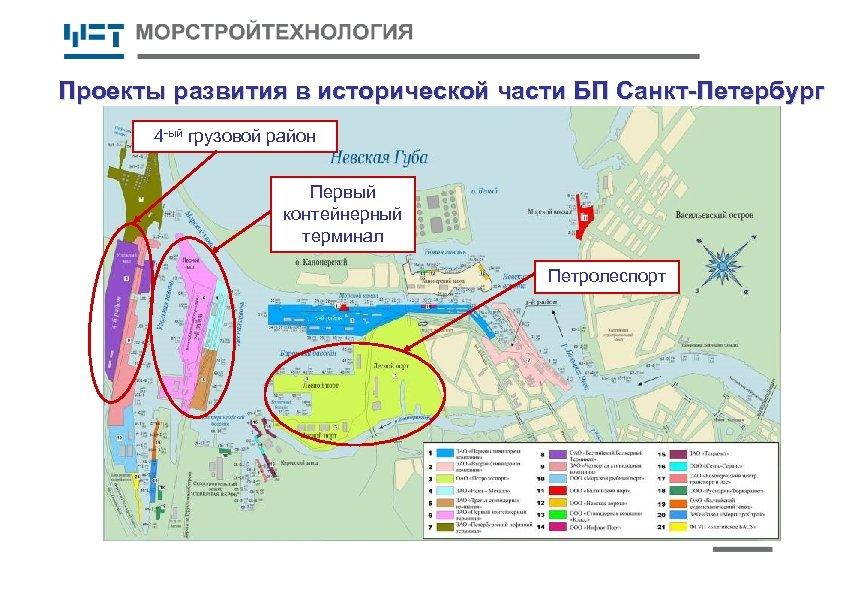 Проекты развития в исторической части БП Санкт-Петербург 4 -ый грузовой район Первый контейнерный терминал