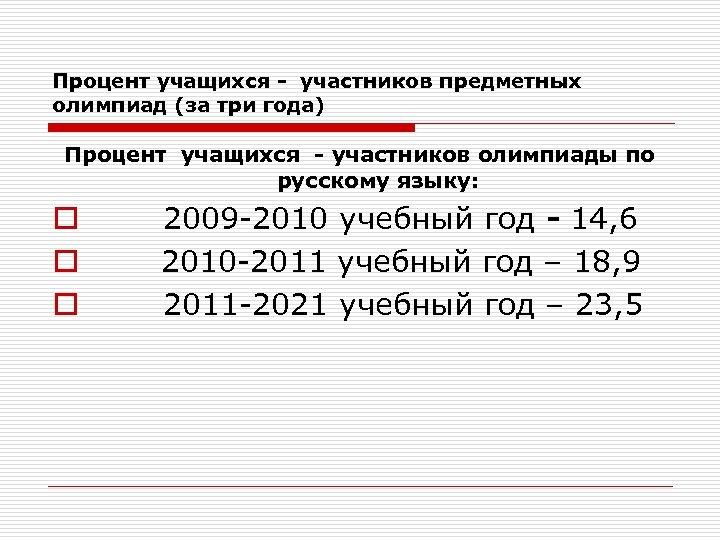 Процент учащихся - участников предметных олимпиад (за три года) Процент учащихся - участников олимпиады