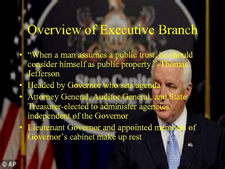 """Overview of Executive Branch • """"When a man assumes a public trust, he should"""