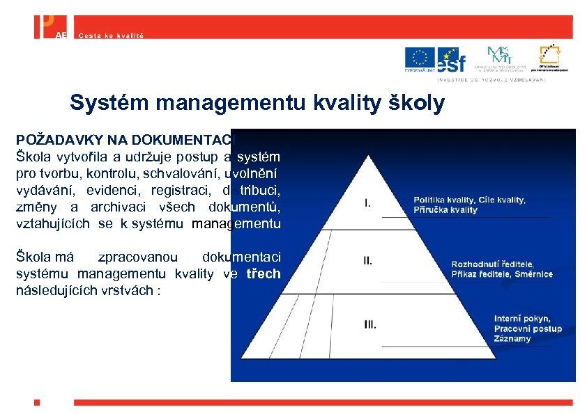 Systém managementu kvality školy POŽADAVKY NA DOKUMENTACI Škola vytvořila a udržuje postup a systém