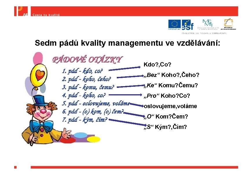 """Sedm pádů kvality managementu ve vzdělávání: Kdo? , Co? """"Bez"""" Koho? , Čeho? """"Ke"""""""