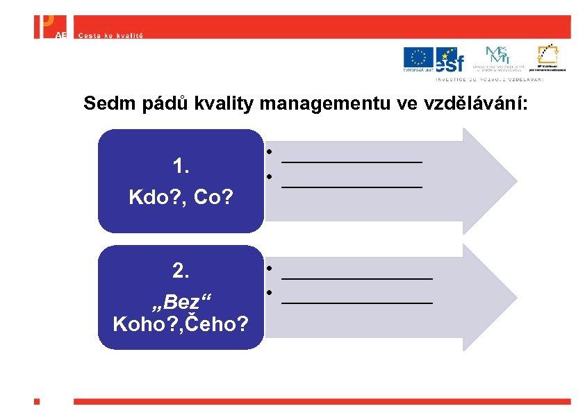 Sedm pádů kvality managementu ve vzdělávání: 1. Kdo? , Co? • _____________ • _______
