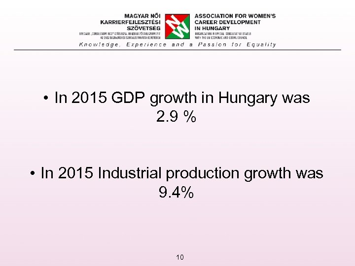 • In 2015 GDP growth in Hungary was 2. 9 % • In