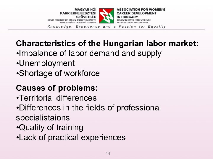 Characteristics of the Hungarian labor market: • Imbalance of labor demand supply • Unemployment