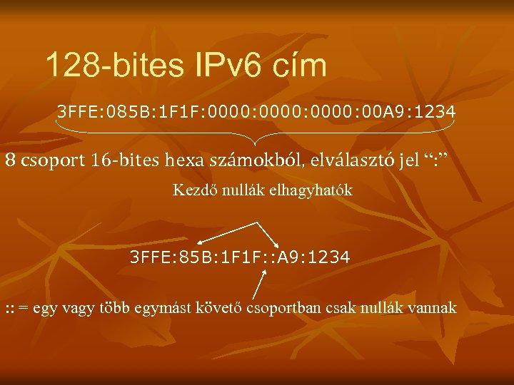 128 -bites IPv 6 cím 3 FFE: 085 B: 1 F 1 F: 0000:
