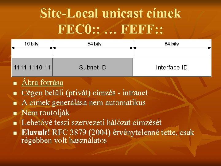 Site-Local unicast címek FEC 0: : … FEFF: : n n n Ábra forrása