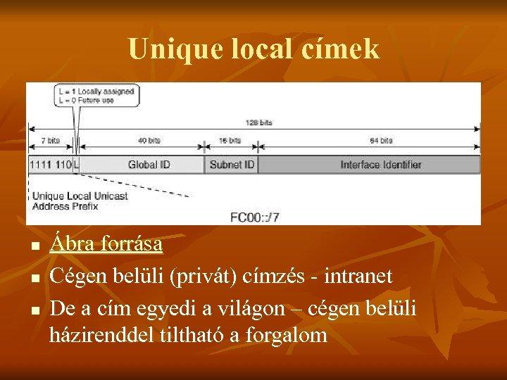 Unique local címek n n n Ábra forrása Cégen belüli (privát) címzés - intranet