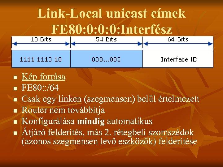 Link-Local unicast címek FE 80: 0: Interfész n n n Kép forrása FE 80: