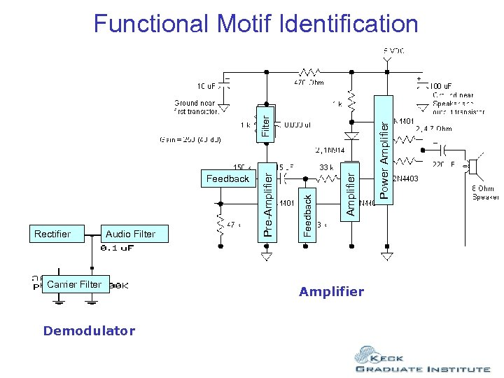 Rectifier Audio Filter Carrier Filter Demodulator Amplifier Power Amplifier Feedback Pre-Amplifier Filter Functional Motif