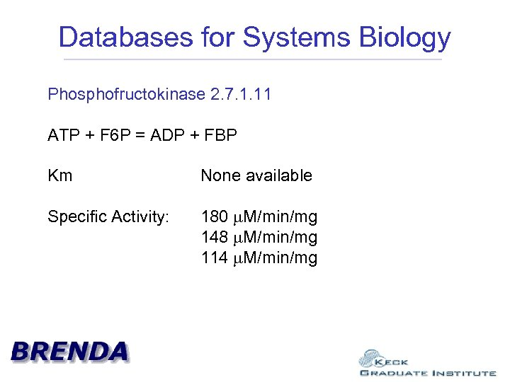 Databases for Systems Biology Phosphofructokinase 2. 7. 1. 11 ATP + F 6 P