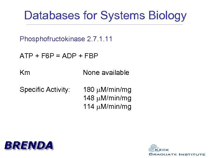 Databases for Systems Biology Phosphofructokinase 2. 7. 1. 11 ATP + F 6 P
