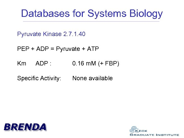 Databases for Systems Biology Pyruvate Kinase 2. 7. 1. 40 PEP + ADP =