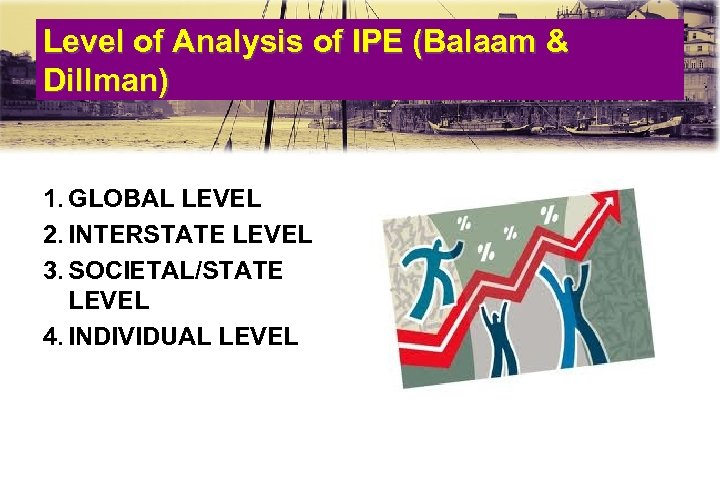 Level of Analysis of IPE (Balaam & Dillman) 1. GLOBAL LEVEL 2. INTERSTATE LEVEL