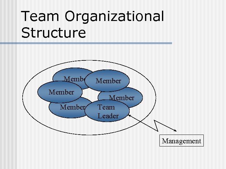 Team Organizational Structure Member Member Team Leader Management
