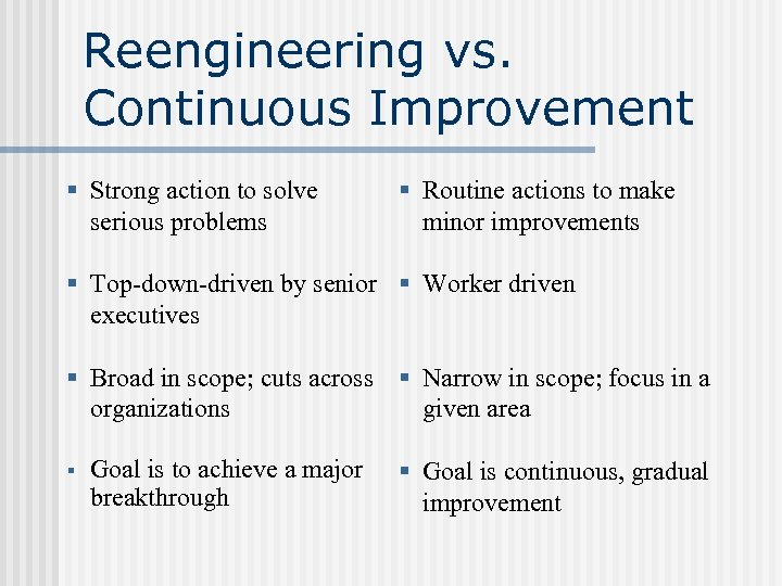Reengineering vs. Continuous Improvement § Strong action to solve serious problems § Routine actions