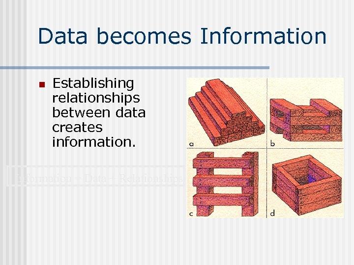 Data becomes Information n Establishing relationships between data creates information. Information = Data +