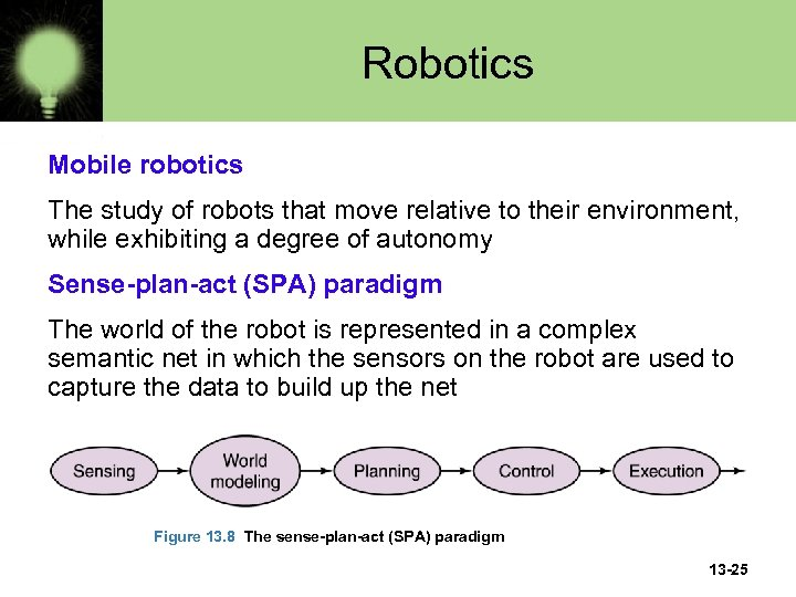 Robotics Mobile robotics The study of robots that move relative to their environment, while