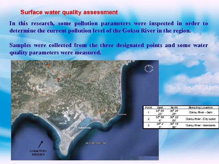 Surface water quality assessment In this research, some pollution parameters were inspected in order