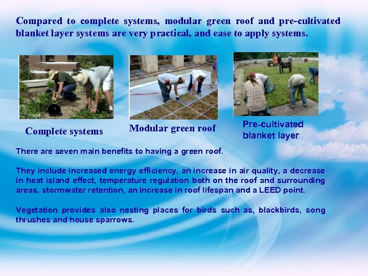 Compared to complete systems, modular green roof and pre-cultivated blanket layer systems are very
