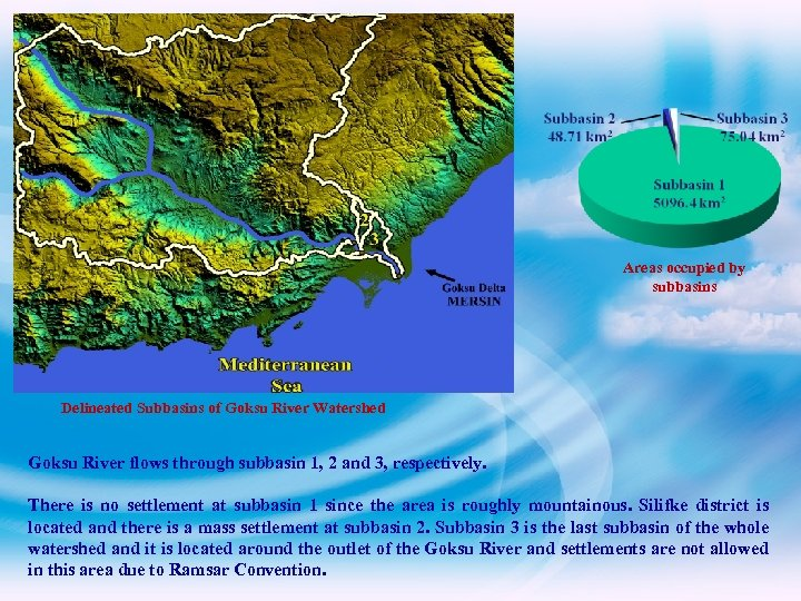Areas occupied by subbasins Delineated Subbasins of Goksu River Watershed Goksu River flows through