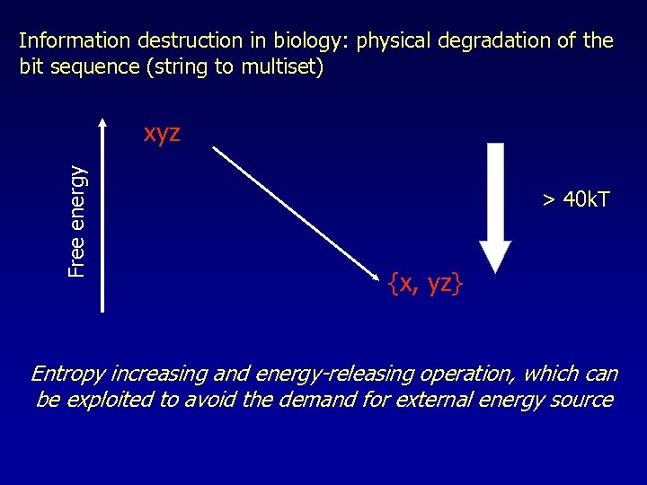 Information destruction in biology: physical degradation of the bit sequence (string to multiset) Free