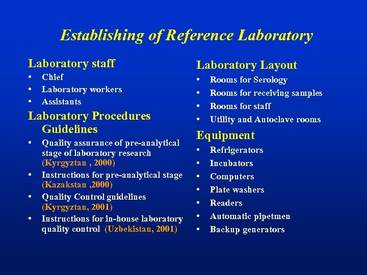 Establishing of Reference Laboratory staff Laboratory Layout • • Chief Laboratory workers Assistants Laboratory