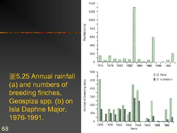 圖 5. 25 Annual rainfall (a) and numbers of breeding finches, Geospiza spp. (b)