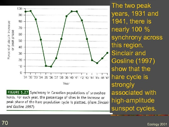 The two peak years, 1931 and 1941, there is nearly 100 % synchrony across
