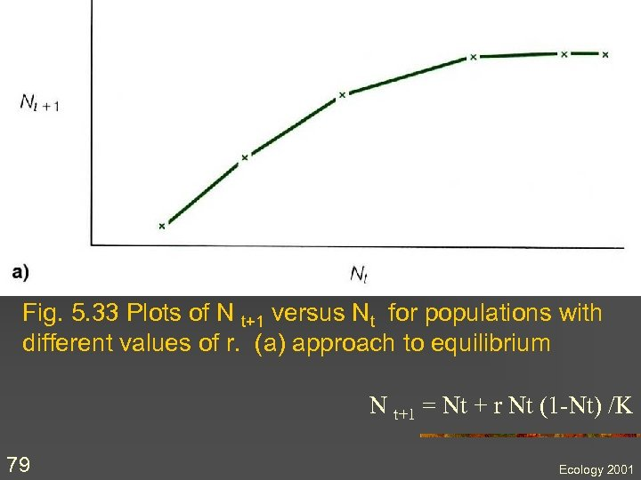 Fig. 5. 33 Plots of N t+1 versus Nt for populations with different values