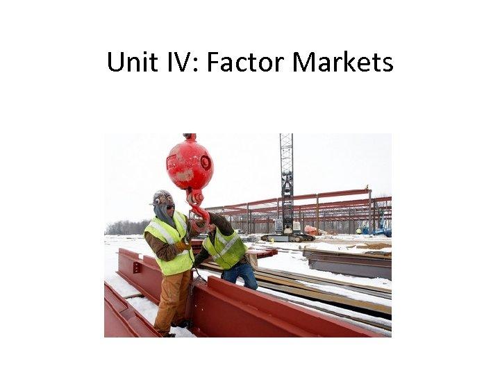 Unit IV: Factor Markets