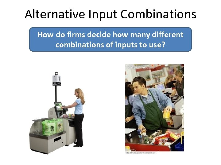 Alternative Input Combinations How do firms decide how many different combinations of inputs to