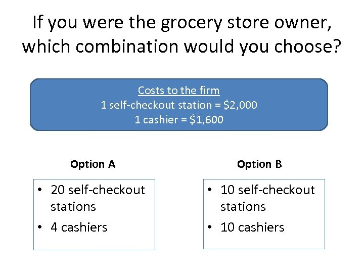 If you were the grocery store owner, which combination would you choose? Costs to