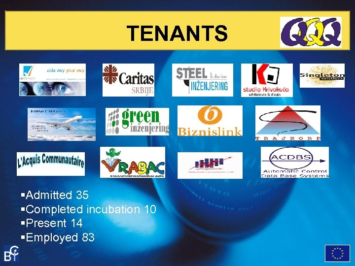 TENANTS §Admitted 35 §Completed incubation 10 §Present 14 §Employed 83