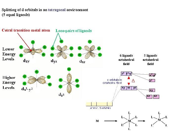 Splitting of d orbitals in an tetragonal environment (5 equal ligands) Cetral transition metal