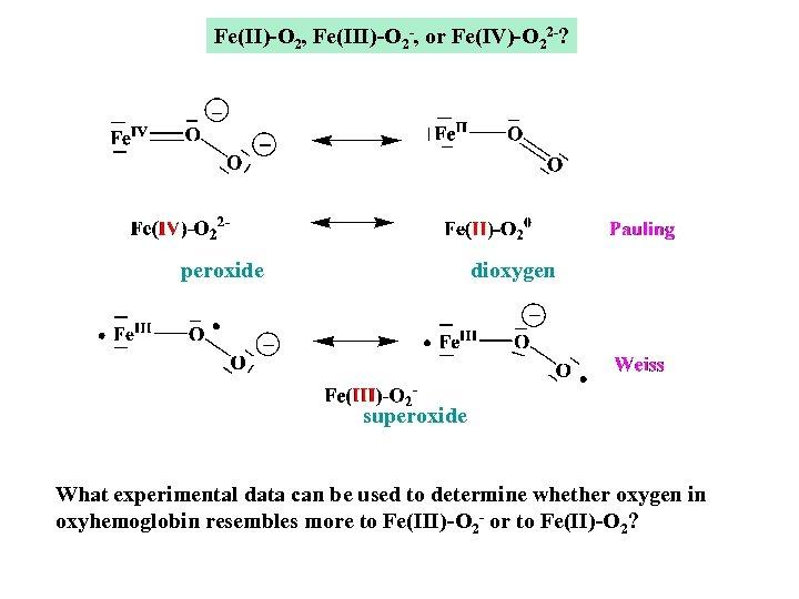 Fe(II)-O 2, Fe(III)-O 2 -, or Fe(IV)-O 22 -? peroxide dioxygen superoxide What experimental
