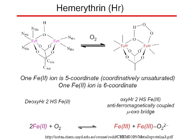 http: //notes. chem. usyd. edu. au/course/codd/CHEM 3105/Metalloproteins 3. pdf
