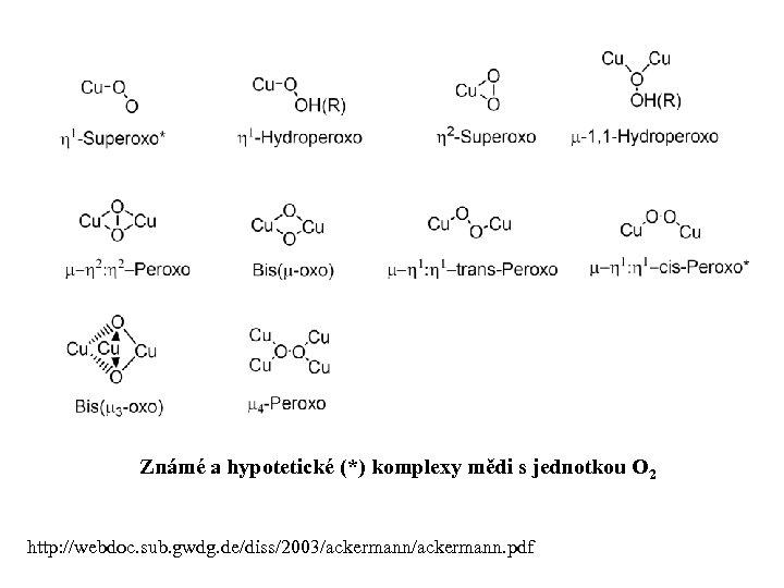 Známé a hypotetické (*) komplexy mědi s jednotkou O 2 http: //webdoc. sub. gwdg.