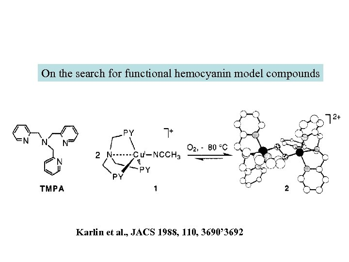 On the search for functional hemocyanin model compounds Karlin et al. , JACS 1988,