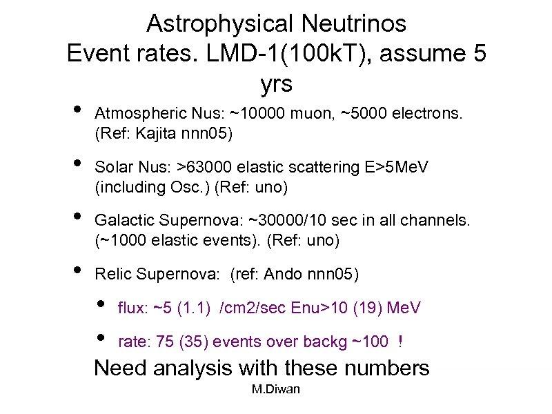 Astrophysical Neutrinos Event rates. LMD-1(100 k. T), assume 5 yrs • • Atmospheric Nus: