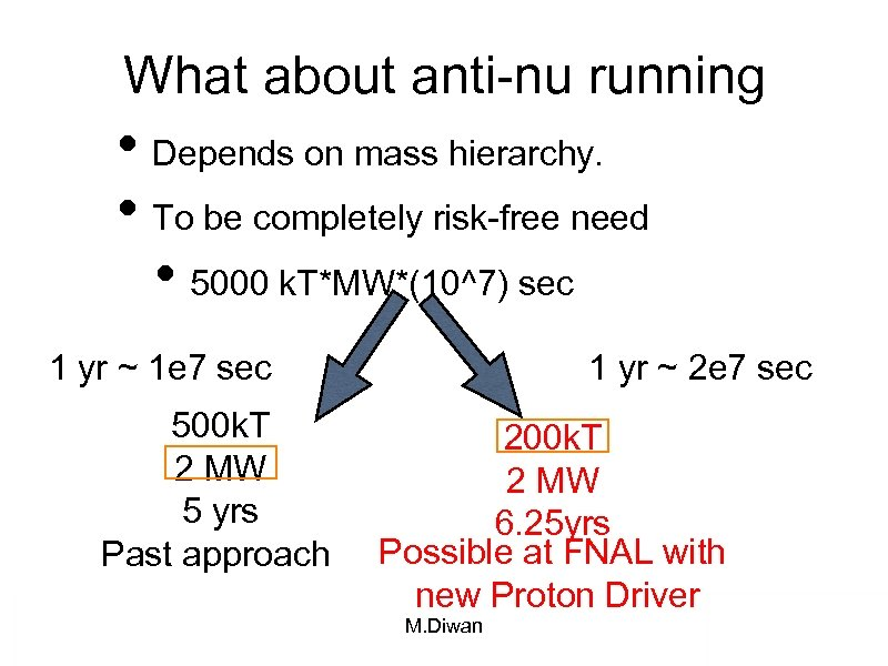 What about anti-nu running • Depends on mass hierarchy. • To be completely risk-free
